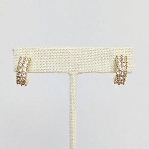 Swarovski Gold Crystal 1/2 Hoop Earrings